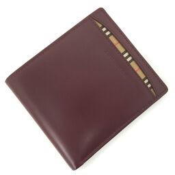 Burberry BURBERRY Burberry Check Bi-Fold Wallet Leather Bordeaux Men's K10324762