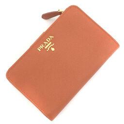 Prada PRADA L-shaped zip bi-fold wallet 1M1225 Saffiano leather orange ladies K10406935