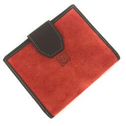 Loewe LOEWE Anagram Bi-Fold Wallet Suede / Leather Red Ladies K10406940