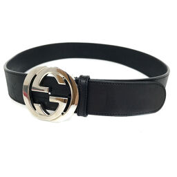 Gucci GUCCI Interlocking GG Buckle Belt Leather Black Men's K10420386