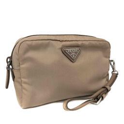 Prada PRADA Fabric Pouch 1NE021_067_F0770 Nylon Material / Leather Beige Pink Beige Ladies K11005029