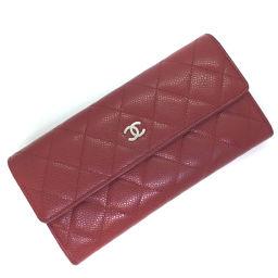 シャネル CHANEL マトラッセ 二つ折り  長財布 A50096  キャビアスキン レッド レディース K71015275