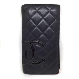 シャネル CHANEL 二つ折り 長財布 カンボンライン  カーフレザー ブラック レディース K71127522