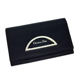 クリスチャンディオール Christian Dior ブラック 2つ折り 長財布  ナイロン素材/レザー ブラック レディース K71217909