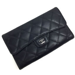 シャネル CHANEL マトラッセ ココマーク 二つ折り財布  ラムスキン ブラック レディース K81023268