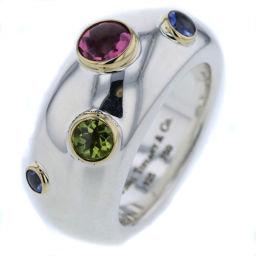 ティファニー TIFFANY&Co. ドッツ 色石 カラーストーン リング・指輪  シルバー925/K18イエローゴールド/色石 9号 シルバー レディース K81023353