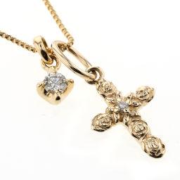 アガット agete クロス 0.01ct 0.05ct ネックレス  K18イエローゴールド/K10イエローゴールド/ダイヤモンド ダイヤモンド0.01ct ダイヤモンド0.05ct ゴールド レディース K81023420