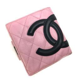 シャネル CHANEL カンボンライン がま口 ココマーク  二つ折り財布  ラムスキン ピンク レディース K81027579