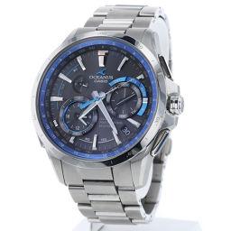 カシオ CASIO オシアナス GPS ハイブリッド ソーラー電波時計 黒文字盤 腕時計 OCW-G1000-1AJF  チタン ブラック メンズ K90423209