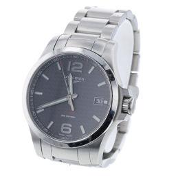 ロンジン LONGINES V.H.P コンクエスト QZ 黒文字盤  腕時計 L3.716.4  ステンレススチール シルバー メンズ K90423210