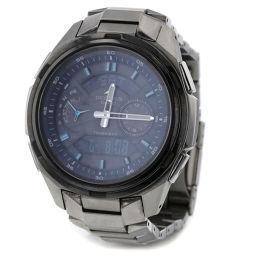 カシオ CASIO オシアナス ソーラー 黒文字盤  腕時計 OCW-T410  チタン シルバー メンズ K90423231