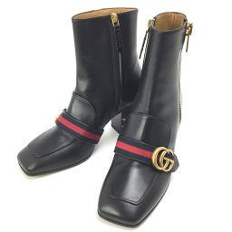 グッチ GUCCI GG パール ウェブ スタッズ ショート 25cm ブーツ 432060  レザー ブラック レディース K90511280