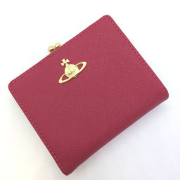 Vivienne ・ Westwood Vivienne Westwood clasp mouth double-fold wallet Safiano leather pink ladies K90523666