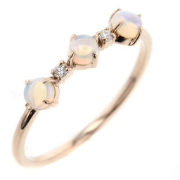 Ete ete 0.02ct Ring & Ring K18 Pink Gold / Opal / Diamond Diamond 0.02ct 12 Gold Ladies K90823887