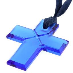 Baccarat Cross Arafoli Choker Necklace Crystal / String Blue Ladies K91023769