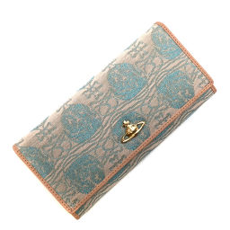 Vivienne Westwood Vivienne Westwood Orb Embroidery Long Wallet 2800VW67 CP / 2003/934 ROPE ORB Leather / Canvas Pink Ladies K91123218