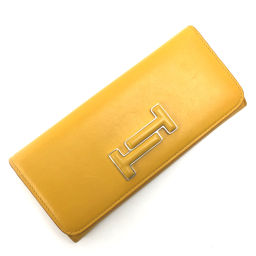 Tods TOD'S Double T Metal Logo Accessory Long Wallet XAWAMMBA400TMOG407 Leather Yellow Ladies K91123260
