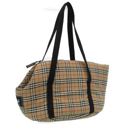 Burberry pet carry bag check pattern tote bag cotton / cotton beige 0027 ladies