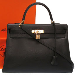 Hermes HERMES Kelly 35 Internal stitching New hardware Handbag Ardennes / Ardennes Black □ F engraved 0129 Ladies