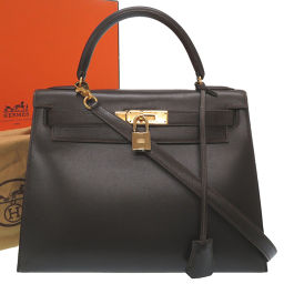 Hermes HERMES Kelly 28 outer stitching handbag box calf / box calf brown 〇U engraved 0136 Ladies