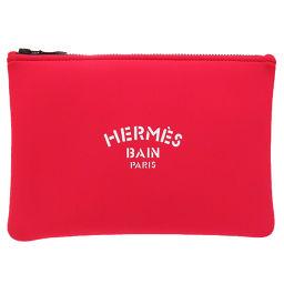 エルメスHERMES ネオバン クラッチバッグ ポリエステル/ポリウレタン レッド 0031 レディース