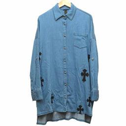 クロムハーツCHROME HEARTS セメタリー レザーパッチ クロスボタン ロング シャツ 長袖シャツ レーヨン/コットン/羊革 ブルー 0046 ユニセックス