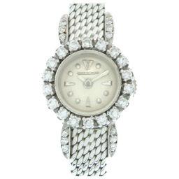 ジャガー・ルクルトJAEGER-LECOULTRE 手巻き 裏リューズ 金無垢 ダイヤベゼル 腕時計 K18ホワイトゴールド/ダイヤモンド/K18ホワイトゴールド シルバー 0215 レディース