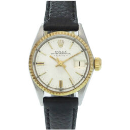 ロレックスROLEX 自動巻き オイスターパーペチュアル デイト アンティーク 6517 腕時計 ステンレススチール/K18イエローゴールド/レザー シルバー 0001 レディース