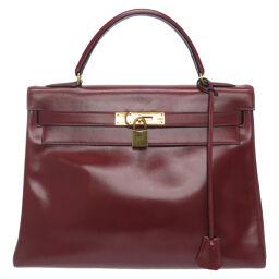Hermes HERMES Kelly 32 Inner stitch handbag Box calf / Box calf Rouge ash 〇J engraved 0022 Ladies