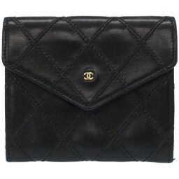 Chanel CHANEL Coin Case Bicolore Coin Case Leather / Leather Black 0040 Ladies