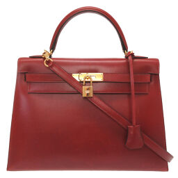 Hermes HERMES Kelly 32 Outer Sewing Handbag Box Calf / Box Calf Rouge Ash □ D Engraved 0042 Ladies