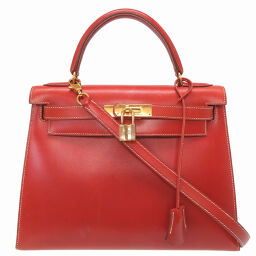 Hermes HERMES Kelly 28 Outer stitched handbag Box calf / Box calf Brick 〇 Y engraved 0043 Ladies