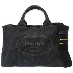 プラダPRADA カナパ ハンドバッグ デニム/デニム ブラック 0057 レディース