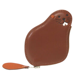 Hermes HERMES Beaver Animal Coin Case Leather / Leather Brown 0068 Unisex