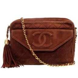 Chanel CHANEL Fringe Chain Shoulder Bag Shoulder Bag Suede / Suede Brown 0161 Ladies