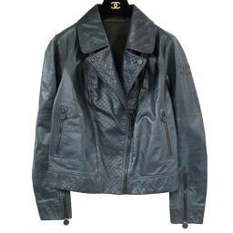 Chanel CHANEL Riders Double Leather Jacket P43495C00177 Riders Jacket Leather / Leather Navy 0164 Ladies