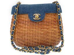 CHANEL Coco Mark Gold Chain Basket Bag Shoulder Bag Straw / Denim / Basket Beige 0002 Ladies