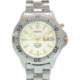 セイコーSEIKO オートクオーツ スキューバ キニティック ダイバーズ 5M63-0B30 腕時計 ステンレススチール/ステンレススチール アイボリー 0551 メンズ