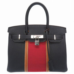 Hermes HERMES Birkin 30 Club Handbags Fjord / Vovalenia / Ottoman Blue Indigo □ Q Engraved 0818 Ladies