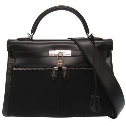 Hermes HERMES Kelly Raki 32 Handbag Box Calf / Toile Officier / Box Calf Black □ K Engraved 0024 Ladies