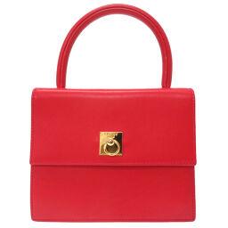 Celine CELINE Vintage Handbag Leather / Leather Red 0056 Ladies