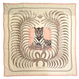 Hermes HERMES King's Tiger Stole Cashmere / Silk / Beads Pink 0164 Unisex