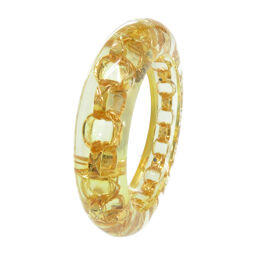 Chanel CHANEL Chain Clear Bangle Vintage Bangle Plastic / Metal / Plastic Gold 2 3 Engraved 0068 Ladies