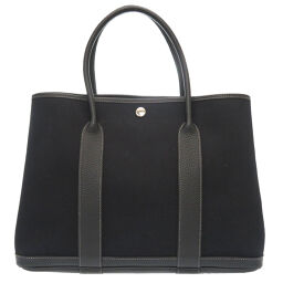 Hermes HERMES Garden Party PM 36 Handbag Toile Officier / Buffle Black □ P Engraved 0072 Ladies