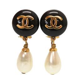 Chanel CHANEL Vintage Coco Mark Earrings Fake Pearl / Plastic / Metal Black 0077 Ladies