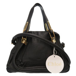 Chloe Chloe Paraty Small Handbag Leather / Leather Black 0114 Ladies