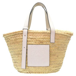 Loewe LOEWE Basket Bag Tote Bag Calf / Palm Leaf White 0082 Ladies