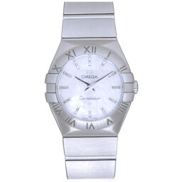 Omega OMEGA Quartz Constellation Shell Dial 123.10.27.60.05.001 Watch Stainless Steel / Stainless Steel White Shell 0010 Ladies