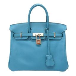 Hermes HERMES Birkin 25 Handbag Vaux Swift / Vaux Swift Turquoise □ R Engraved 0018 Ladies