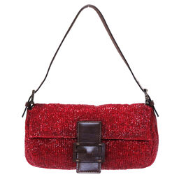 FENDI FENDI Mamma Bucket Shoulder Bag Leather // Beads Red 0021 Ladies